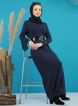 Navy Blue - Crew neck - Unlined -  - Dress