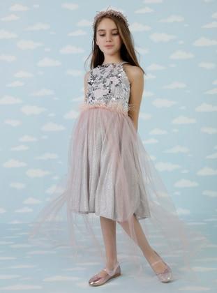 Sweatheart Neckline - Powder - Girls` Dress