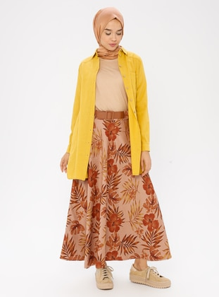Camel - Floral - Unlined - Skirt