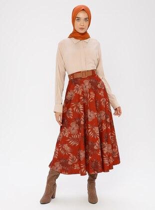 Terra Cotta - Floral - Unlined - Skirt