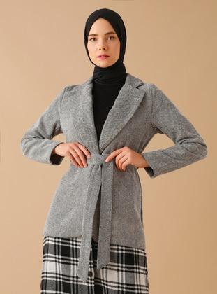 Gray - Unlined - Shawl Collar -  - Jacket - Mnatural