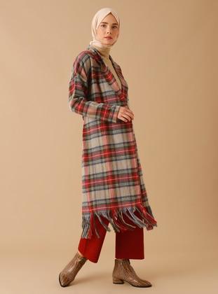 Gray - Plaid - Unlined - - Coat