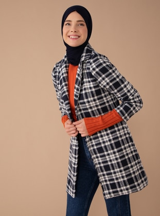 Navy Blue - Plaid - Fully Lined - Shawl Collar -  - Coat