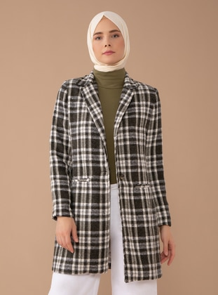 Green - Plaid - Fully Lined - Shawl Collar -  - Coat