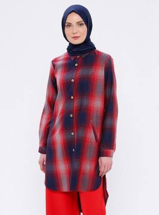 Plum - Plaid - Point Collar - Tunic