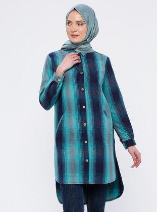 Green - Plaid - Point Collar - Tunic