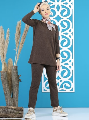 Brown - Unlined -  - Suit