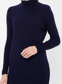 Navy Blue - Polo neck - Unlined - Acrylic -  - Dress