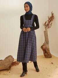Navy Blue - Plaid - Unlined -  - Dress