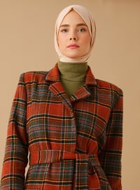 Terra Cotta - Plaid - Fully Lined - Shawl Collar -  - Coat