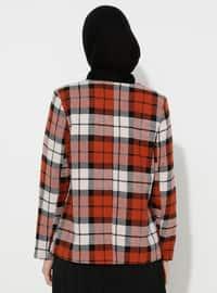 Terra Cotta - Plaid - Fully Lined - V neck Collar - Blazer - Jacket