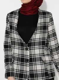 Black - Plaid - Fully Lined - V neck Collar - Blazer - Jacket
