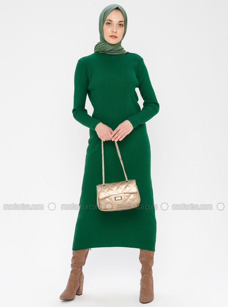Green - Polo neck - Unlined - Acrylic -  - Dress