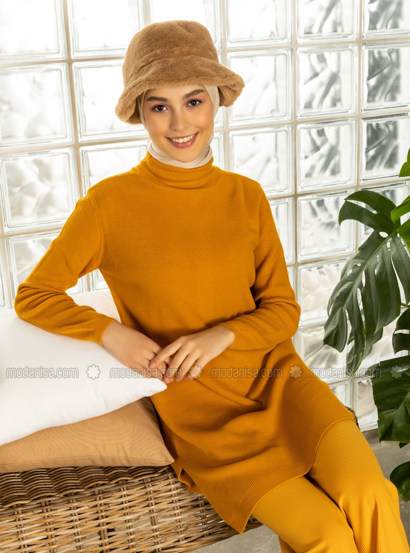 Yellow - Polo neck - Jumper