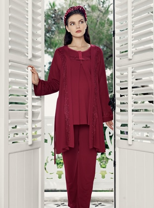 Maroon - Morning Robe - Artış Collection