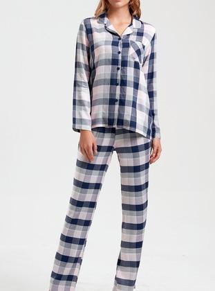 Navy Blue - Point Collar - Checkered -  - Pyjama