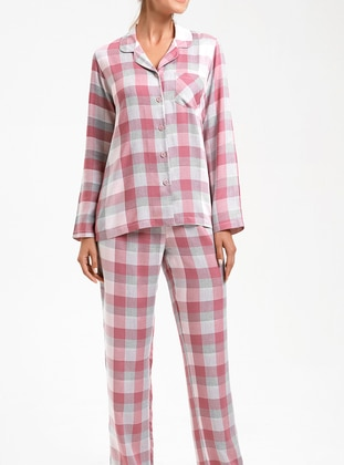 Pink - Crew neck - Checkered -  - Pyjama