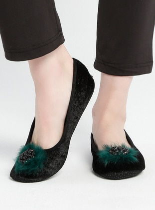 Black - Green - Sandal - Flat Shoes