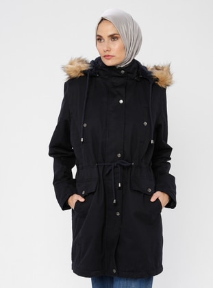 Navy Blue - Fully Lined - Polo neck -  - Puffer Jackets