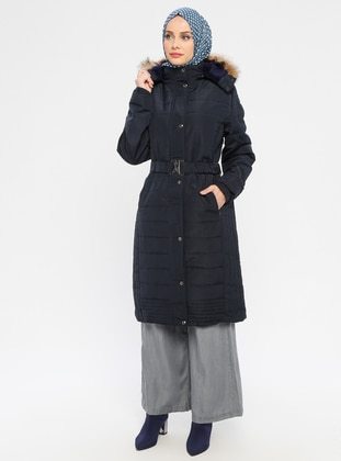Navy Blue - Fully Lined - Polo neck - Puffer Jackets