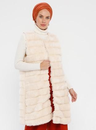 Cream - Fully Lined - Crew neck - Viscose - Vest