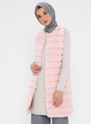 Pink - Fully Lined - Crew neck - Viscose - Vest