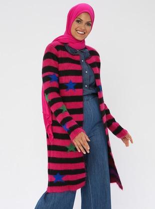 Fuchsia - Stripe - Acrylic - Cardigan