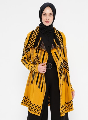 Mustard - Multi - Shawl Collar - Acrylic -  -  - Cardigan