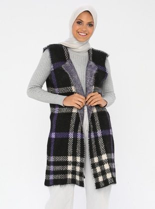Purple - Black - Plaid - Unlined - Acrylic -  - Vest