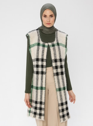 Beige - Green - Plaid - Unlined - Acrylic -  - Vest