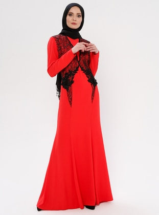 Coral - Fully Lined - Crew neck - Modest Evening Dress