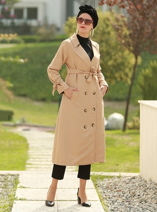 Camel - Unlined - V neck Collar - Acrylic -  - Trench Coat