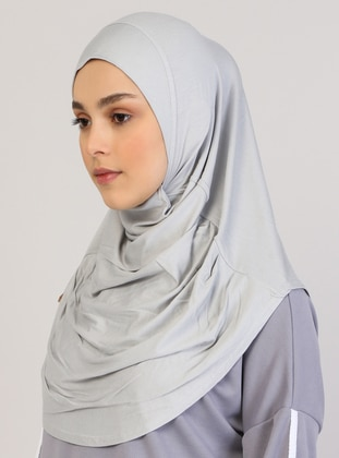 Gray - Plain - Viscose - Instant Scarf