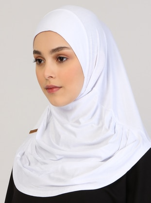 White - Plain - Viscose - Instant Scarf