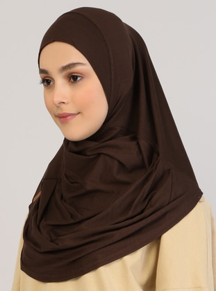 Brown - Plain - Viscose - Instant Scarf