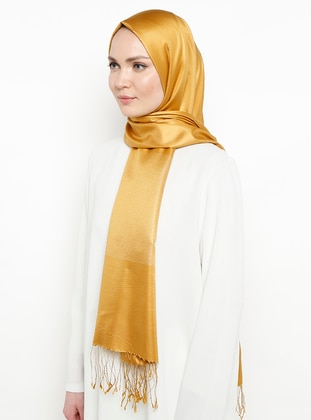 Gold - Plain - Fringe - %100 Silk - Shawl