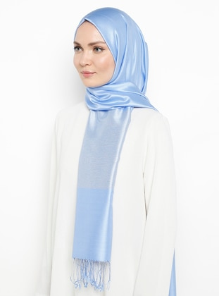Baby Blue - Blue - Plain - Fringe - %100 Silk - Shawl
