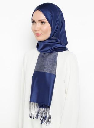 Saxe - Plain - Fringe - %100 Silk - Shawl