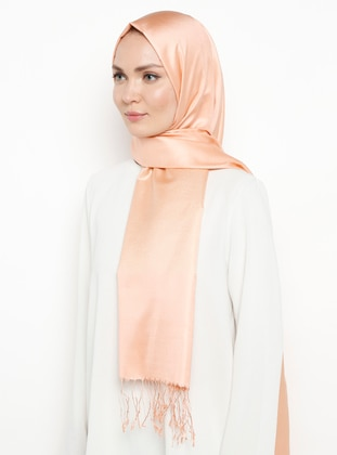 Salmon - Plain - Fringe - %100 Silk - Shawl