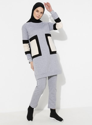 Gray - Geometric -  - Crew neck - Tracksuit Set