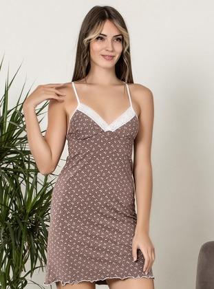 Brown - V neck Collar - - Nightdress