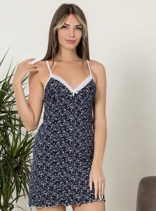 Navy Blue - V neck Collar -  - Nightdress