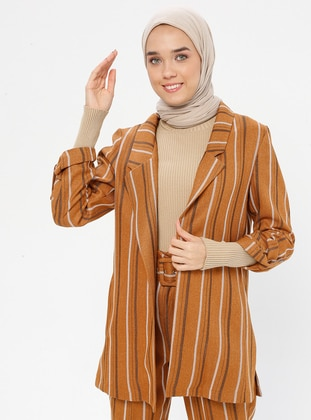 Tan - Stripe - Unlined - Shawl Collar - Jacket