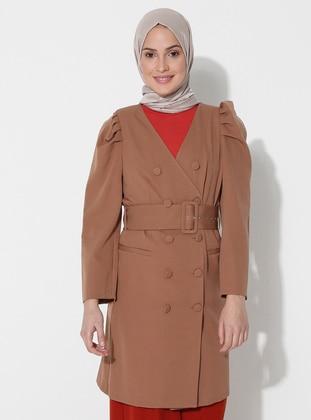 Camel - Unlined - V neck Collar - Jacket