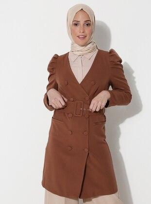Brown - Unlined - V neck Collar - Jacket
