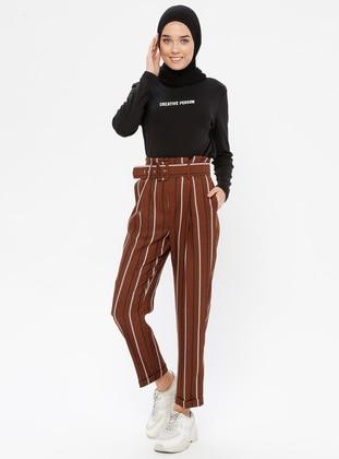 Brown - Stripe - Pants