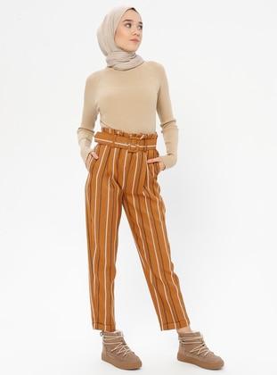 Tan - Stripe - Pants
