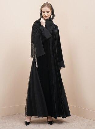 Silver tone - Black - Fully Lined - V neck Collar - Abaya