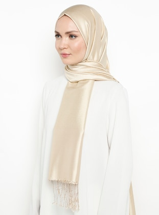 Gold - Cream - Plain - Fringe - %100 Silk - Shawl