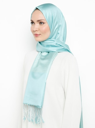 Mint - Plain - Fringe - %100 Silk - Shawl - Silk Home